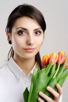 Free Woman With Tulips Stock Photos - 18236193