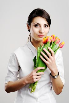 Free Young Woman With Tulips Stock Photo - 18236200