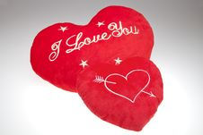 The Two Red Valentine`s Pillows Royalty Free Stock Image