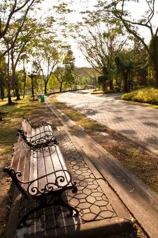 Bench In Park At Sunset Stock Image
