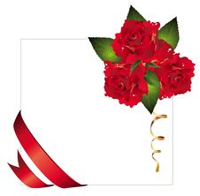 Free Vector  Background With Ribbon And Red Roses Stock Photo - 18238170