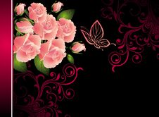 Free Card  With Butterfly  And Bouquet Of Roses Royalty Free Stock Image - 18238196
