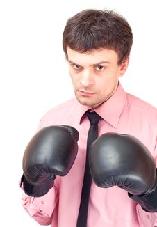 Free Businessman With Boxing Gloves. Stock Image - 18238441