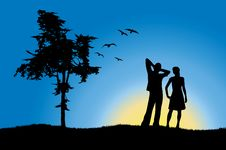 Free Man And Girl Standing On Hill Near Tree Royalty Free Stock Image - 18238686