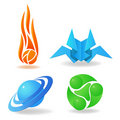 Free Set Of Abstract Symbols, Sphere, Flame, Green Royalty Free Stock Photos - 18244858