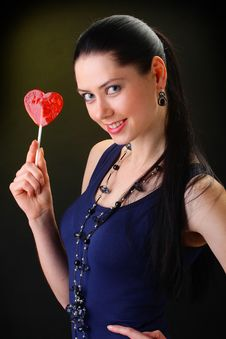Free Red Lollipop Heart Stock Image - 18240791