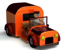 3d Wood Man As A Driver Royalty Free Stock Photos