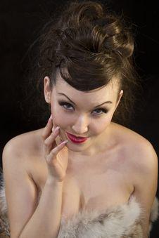 Free Beautiful Woman Touching Face Dressed Fur Royalty Free Stock Photo - 18243025