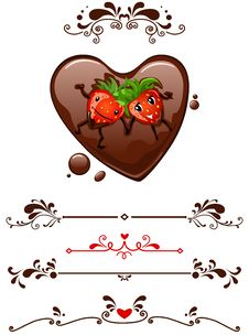 Free Cartoon Strawberry And Decorative Elements Stock Photos - 18243113
