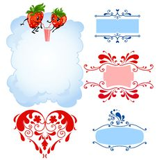 Free Cartoon Strawberry And Frames Royalty Free Stock Photo - 18243175