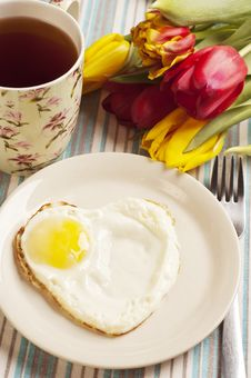 Free Heart Shape Fried Egg Stock Images - 18243324
