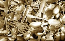 Spoons And Forks Royalty Free Stock Images