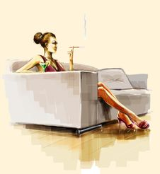 Free Lady Sitting On The Sofa And Smoke Stock Images - 18244244