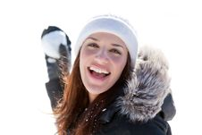 Free Laughing Woman Throwing Snowball Stock Photos - 18244483