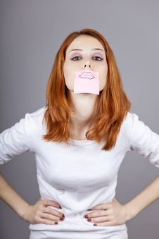 Portrait Of Red-haired Girl With Stickers On Mout Stock Photography