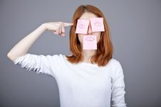 Free Portrait Of Red-haired Girl With Stickers On Mout Stock Photos - 18244593