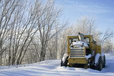 Free Snow Covered Tractor With Space Stock Photo - 18245100