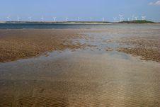 Windmills On Coastline Stock Photos