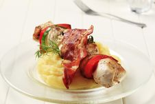 Chicken Shish Kebab And Mashed Potato Royalty Free Stock Image