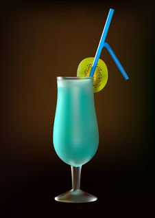 Cocktail  Blue Lagoon With Kiwi Royalty Free Stock Photography