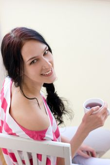Free Caucasian Young Woman With Cup Of Tea Royalty Free Stock Images - 18246569