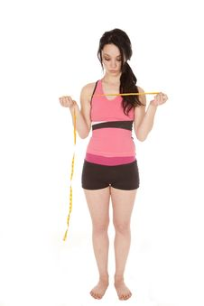 Free Holding Measuring Tape Fitness Royalty Free Stock Images - 18247339