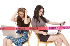 Free Two Women Computers Danger Royalty Free Stock Images - 18247359