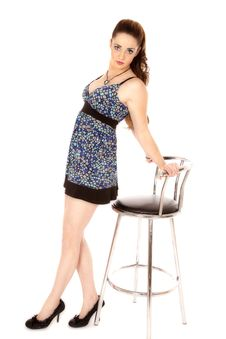 Woman Dress Posing Stool Royalty Free Stock Image