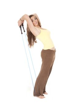 Free Woman Leaning Back Pulling Jump Rope Stock Photo - 18247410
