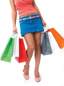 Free Female Legs With Shopping Bags Stock Images - 18247934