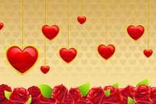 Free Valentine Card With Hanging Hearts Royalty Free Stock Image - 18248636