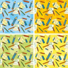 Crayons And Sheets Of Paper On A Colored Backgroun Royalty Free Stock Photo