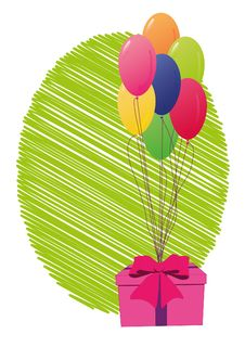 Free Present With Balloons Royalty Free Stock Photo - 18249665
