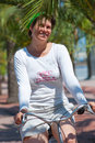 Free A Young Woman Rides A Bicycle Stock Images - 18256474