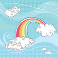 Free Blue Windy Sky With Swirls, Clouds And A Rainbow Stock Image - 18259681