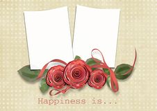 Free Vintage Card For Congratulation With Roses Royalty Free Stock Photos - 18250128
