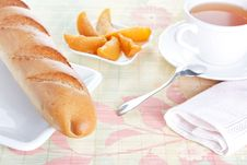 Free Baguette On Plate, Peach Dessert And A Cup Of Tea Stock Photo - 18250960