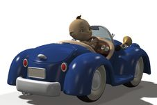 Free Cute Baby Driving A Car Stock Photography - 18251802