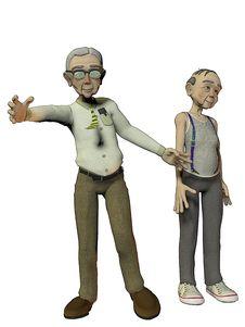 Free Two Elderly Gentlemen On White Backgound Royalty Free Stock Image - 18251976