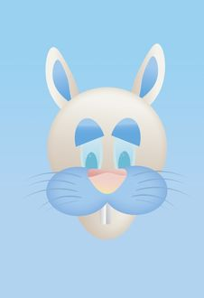Free Cartoon Easter Bunny On Blue Background Stock Photos - 18252043