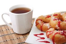 Free Donuts  And A Cup Of Tea Royalty Free Stock Photos - 18252058