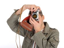 Young Professional Photographer With Film Camera Royalty Free Stock Image