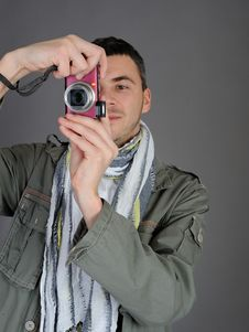 Free Male Photographer From Back Taking Picture Royalty Free Stock Photo - 18252135