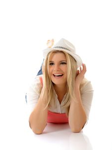 Free Young Casual Smiling Woman In White Hat Royalty Free Stock Photography - 18252187