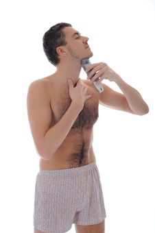 Young Handsome Man Shaving In The Morning Royalty Free Stock Image