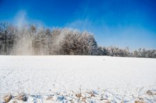 Free Snowstorm On The Winter Field Panorama Stock Photography - 18252382