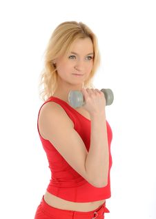 Free Fitness Woman Working Out With Free Weights Royalty Free Stock Image - 18252396