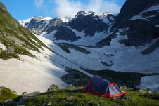 Tent On Meadow In The Mountains Royalty Free Stock Images