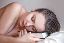 Free Beautiful Woman Sleeps With The Book Stock Image - 18252931