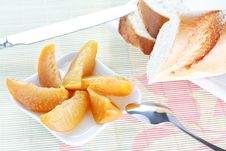 Free Baguette On Plate, Peach Dessert, Spoon And Knife Royalty Free Stock Photo - 18252955